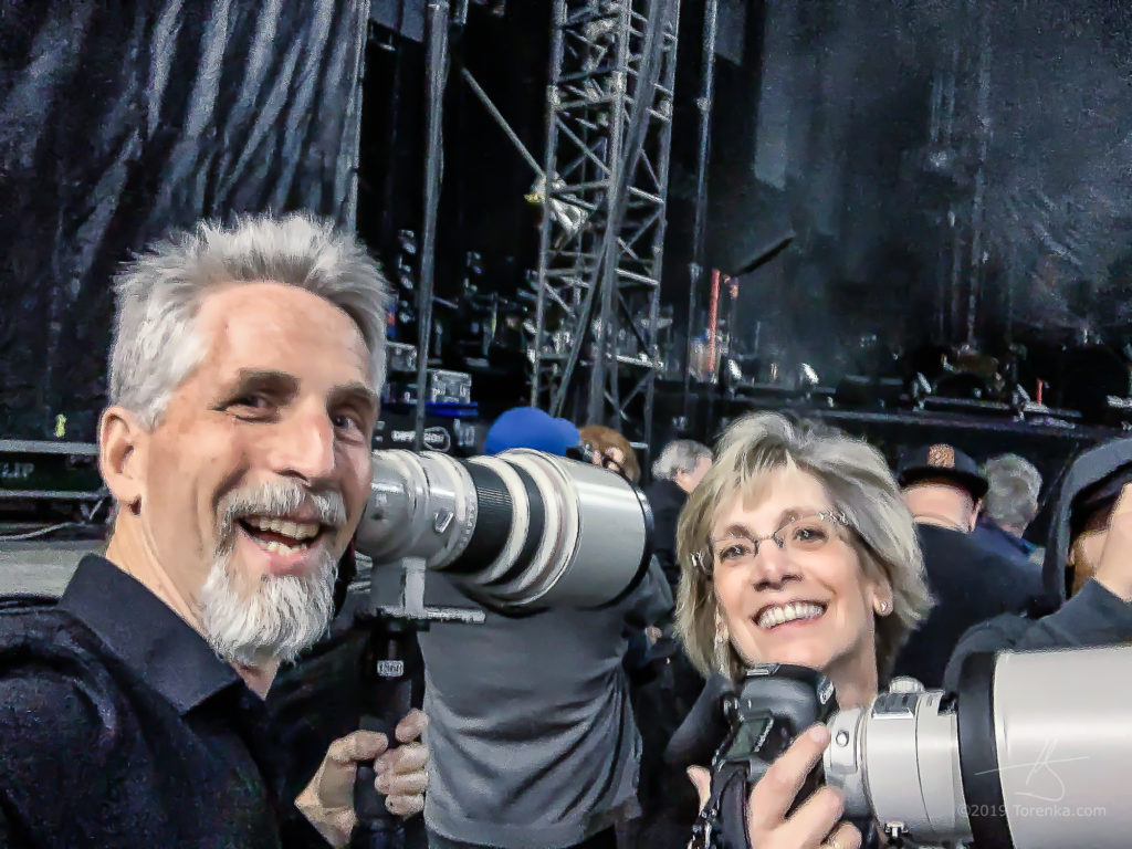 A blurry iPhone selfie of Toby & Renae stage right at the Billy Joel concert at Chase Field.