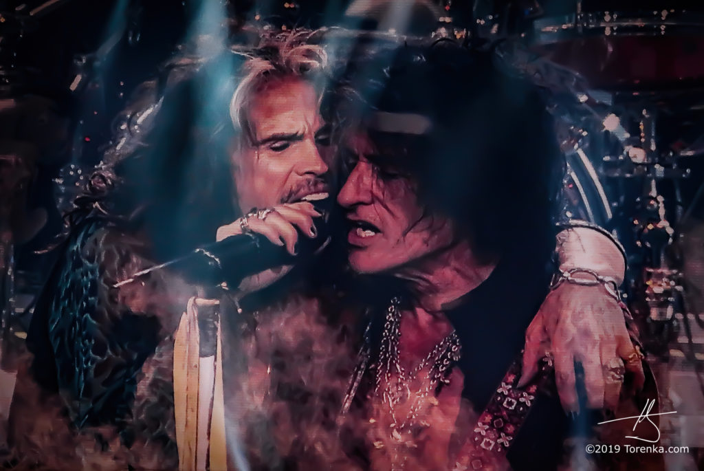 Steven Tyler, Joe Perry perform at Park Theater in Las Vegas, Nevada on November 26, 2019